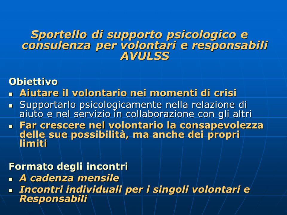 Sportello di supporto psicologico e consulenza per volontari e responsabili AVULSS Obiettivo Aiutare il volontario nei momenti di crisi Aiutare il vol