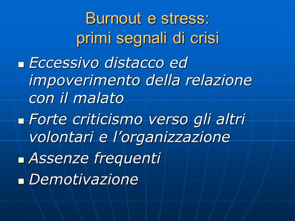 Burnout e stress: primi segnali di crisi Eccessivo distacco ed impoverimento della relazione con il malato Eccessivo distacco ed impoverimento della r