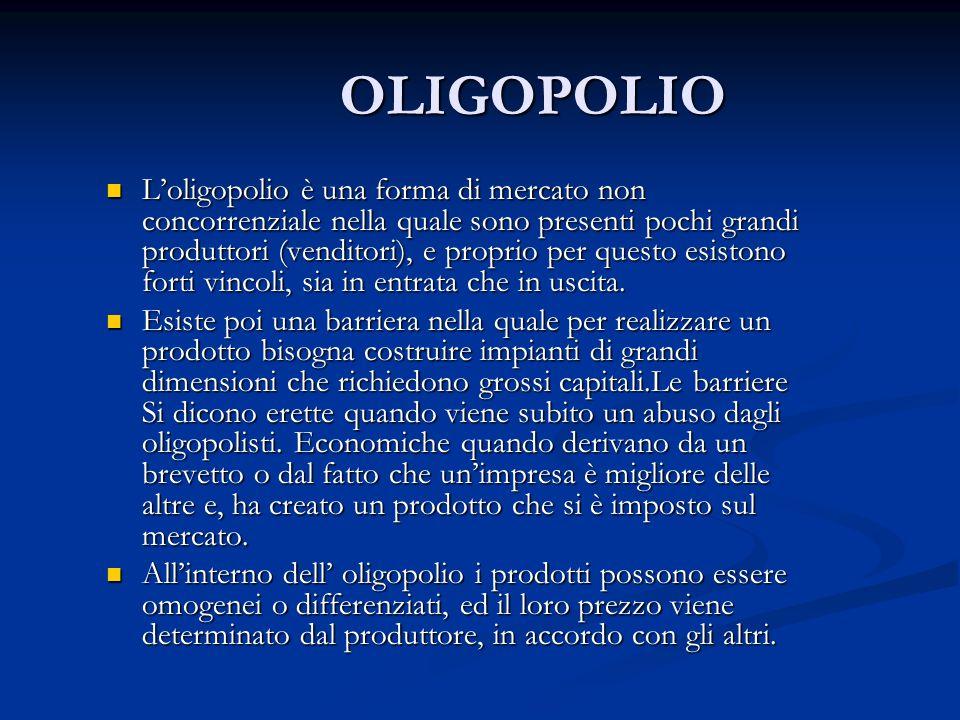 OLIGOPOLIO Loligopolio è una forma di mercato non concorrenziale nella quale sono presenti pochi grandi produttori (venditori), e proprio per questo e