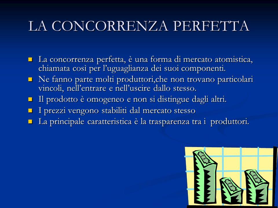 LA CONCORRENZA PERFETTA La concorrenza perfetta, è una forma di mercato atomistica, chiamata così per luguaglianza dei suoi componenti. La concorrenza