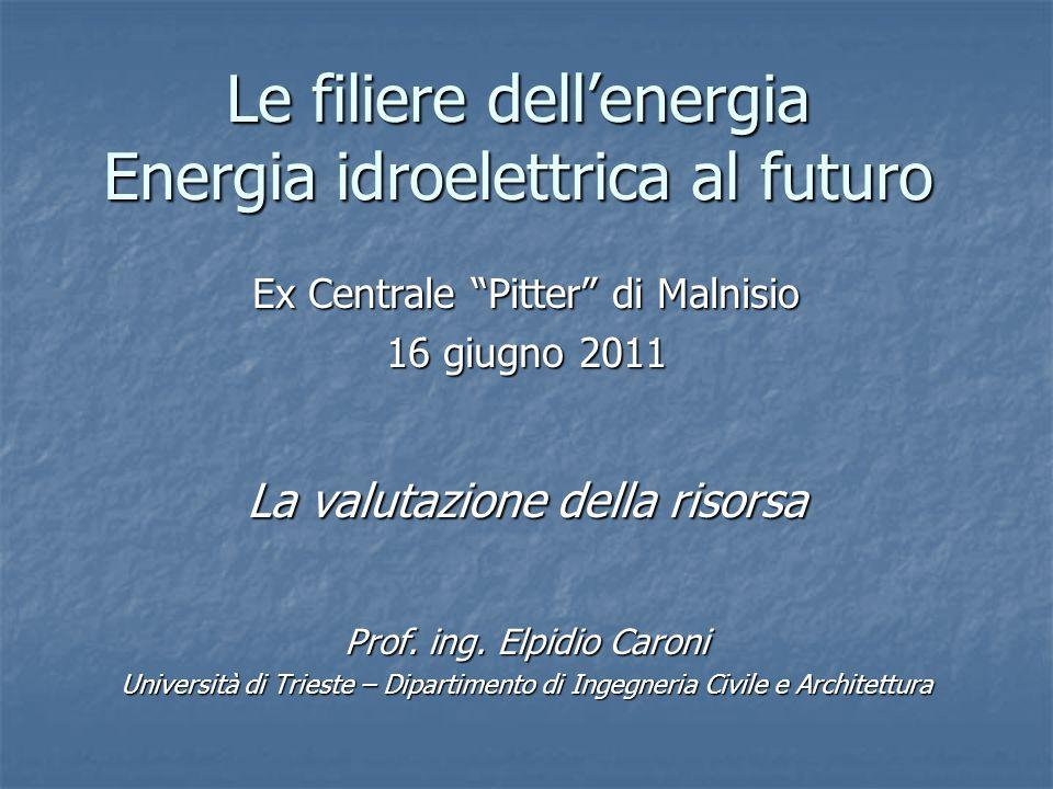 Le filiere dellenergia Energia idroelettrica al futuro Ex Centrale Pitter di Malnisio 16 giugno 2011 La valutazione della risorsa Prof. ing. Elpidio C
