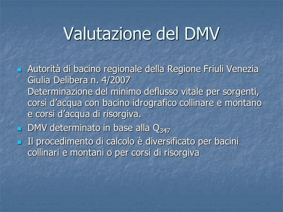Valutazione del DMV Autorità di bacino regionale della Regione Friuli Venezia Giulia Delibera n. 4/2007 Determinazione del minimo deflusso vitale per