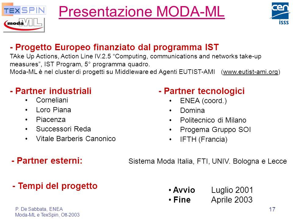 P. De Sabbata, ENEA Moda-ML e TexSpin, Ott-2003 17 Presentazione MODA-ML Corneliani Loro Piana Piacenza Successori Reda Vitale Barberis Canonico ENEA