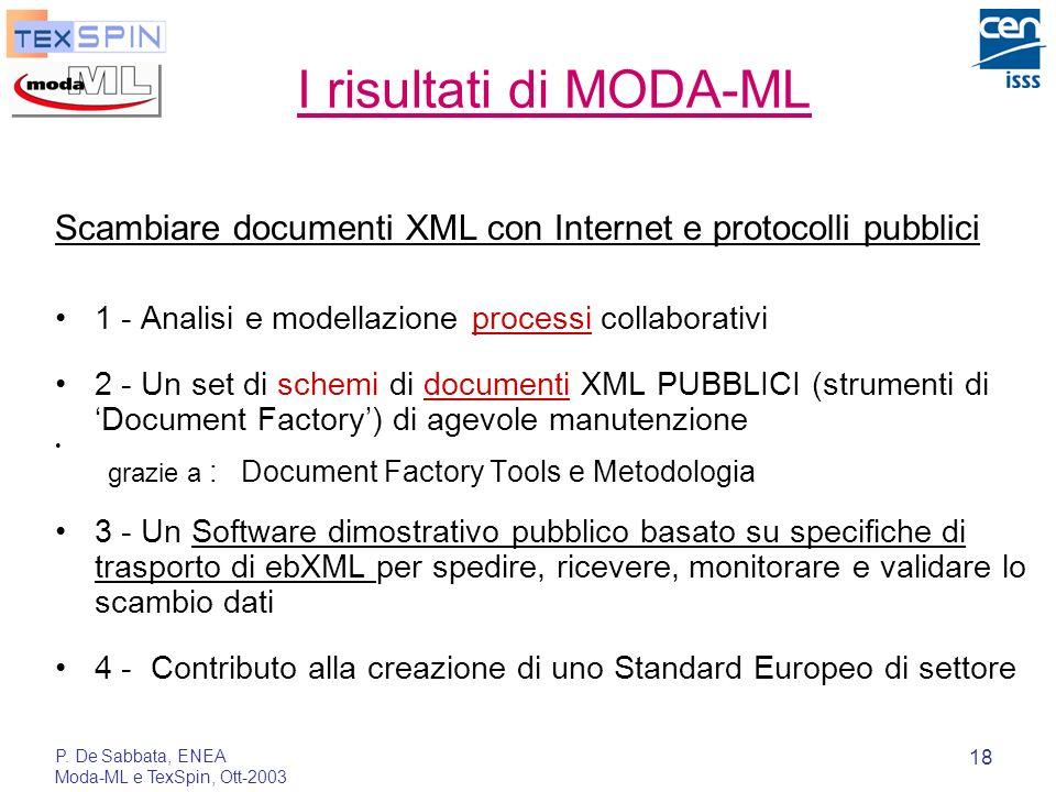 P. De Sabbata, ENEA Moda-ML e TexSpin, Ott-2003 18 I risultati di MODA-ML Scambiare documenti XML con Internet e protocolli pubblici 1 - Analisi e mod