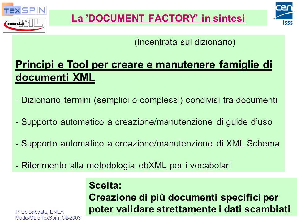 P. De Sabbata, ENEA Moda-ML e TexSpin, Ott-2003 24 La DOCUMENT FACTORY in sintesi (Incentrata sul dizionario) Principi e Tool per creare e manutenere