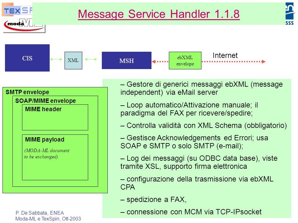 P. De Sabbata, ENEA Moda-ML e TexSpin, Ott-2003 26 Message Service Handler 1.1.8 – Gestore di generici messaggi ebXML (message independent) via eMail