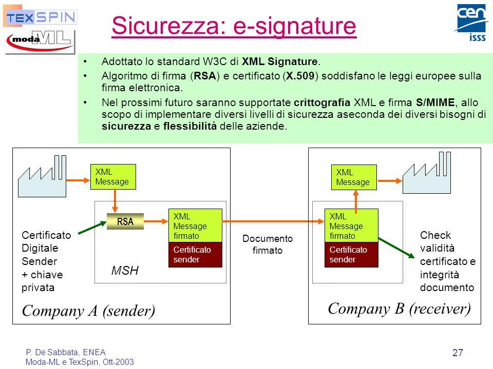 P. De Sabbata, ENEA Moda-ML e TexSpin, Ott-2003 27 Sicurezza: e-signature Adottato lo standard W3C di XML Signature. Algoritmo di firma (RSA) e certif