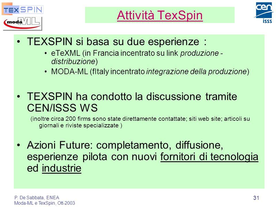 P. De Sabbata, ENEA Moda-ML e TexSpin, Ott-2003 31 Attività TexSpin TEXSPIN si basa su due esperienze : eTeXML (in Francia incentrato su link produzio