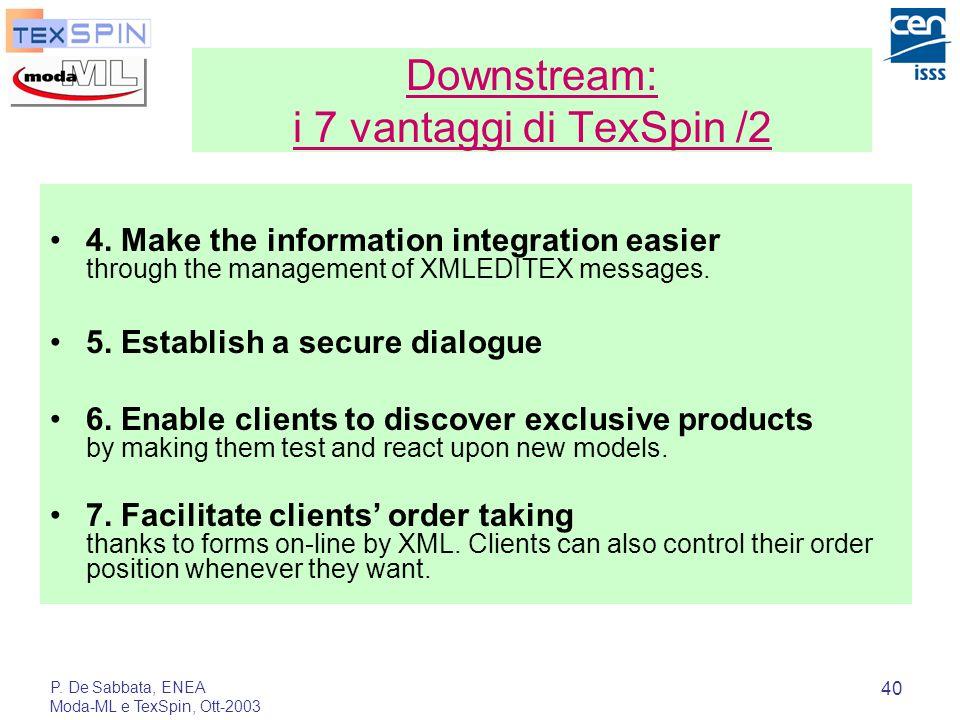 P. De Sabbata, ENEA Moda-ML e TexSpin, Ott-2003 40 4. Make the information integration easier through the management of XMLEDITEX messages. 5. Establi