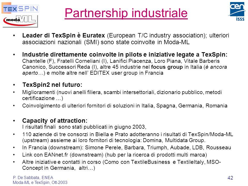 P. De Sabbata, ENEA Moda-ML e TexSpin, Ott-2003 42 Partnership industriale Leader di TexSpin è Euratex (European T/C industry association); ulteriori