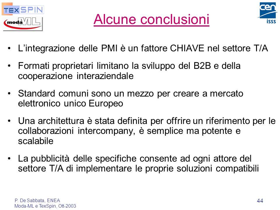 P. De Sabbata, ENEA Moda-ML e TexSpin, Ott-2003 44 Alcune conclusioni Lintegrazione delle PMI è un fattore CHIAVE nel settore T/A Formati proprietari