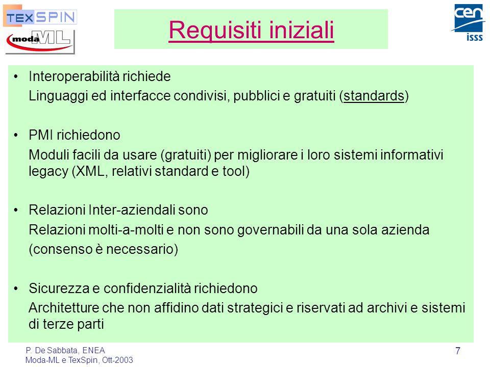 P. De Sabbata, ENEA Moda-ML e TexSpin, Ott-2003 7 Requisiti iniziali Interoperabilità richiede Linguaggi ed interfacce condivisi, pubblici e gratuiti