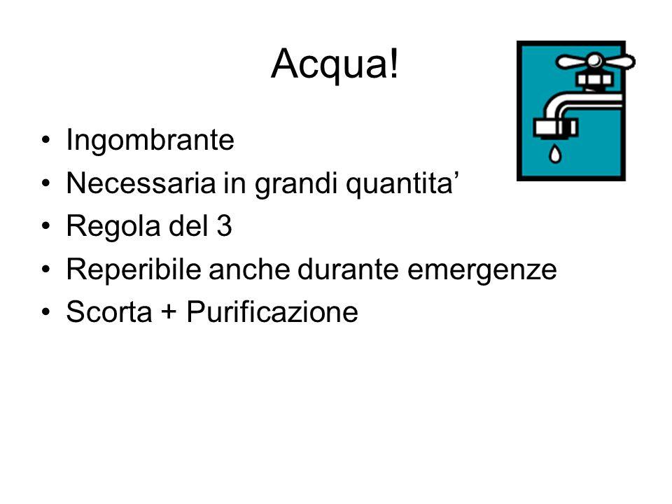 Acqua! Ingombrante Necessaria in grandi quantita Regola del 3 Reperibile anche durante emergenze Scorta + Purificazione