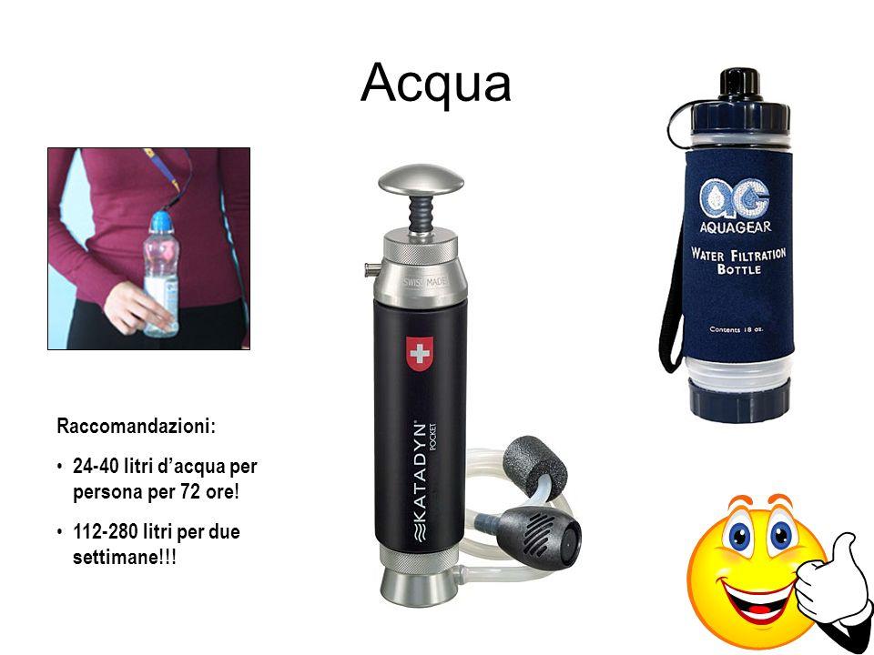 Raccomandazioni: 24-40 litri dacqua per persona per 72 ore! 112-280 litri per due settimane!!!