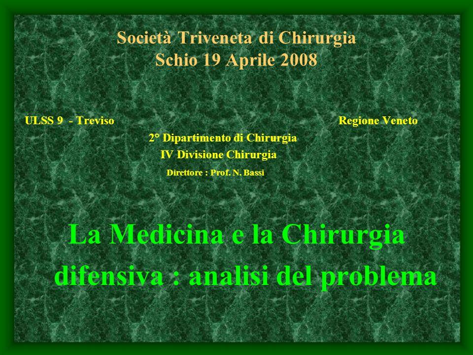 Società Triveneta di Chirurgia Schio 19 Aprile 2008 ULSS 9 - Treviso Regione Veneto 2° Dipartimento di Chirurgia IV Divisione Chirurgia Direttore : Pr