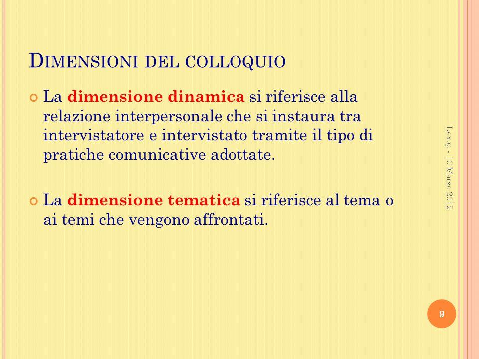 D IMENSIONI DEL COLLOQUIO La dimensione dinamica si riferisce alla relazione interpersonale che si instaura tra intervistatore e intervistato tramite il tipo di pratiche comunicative adottate.