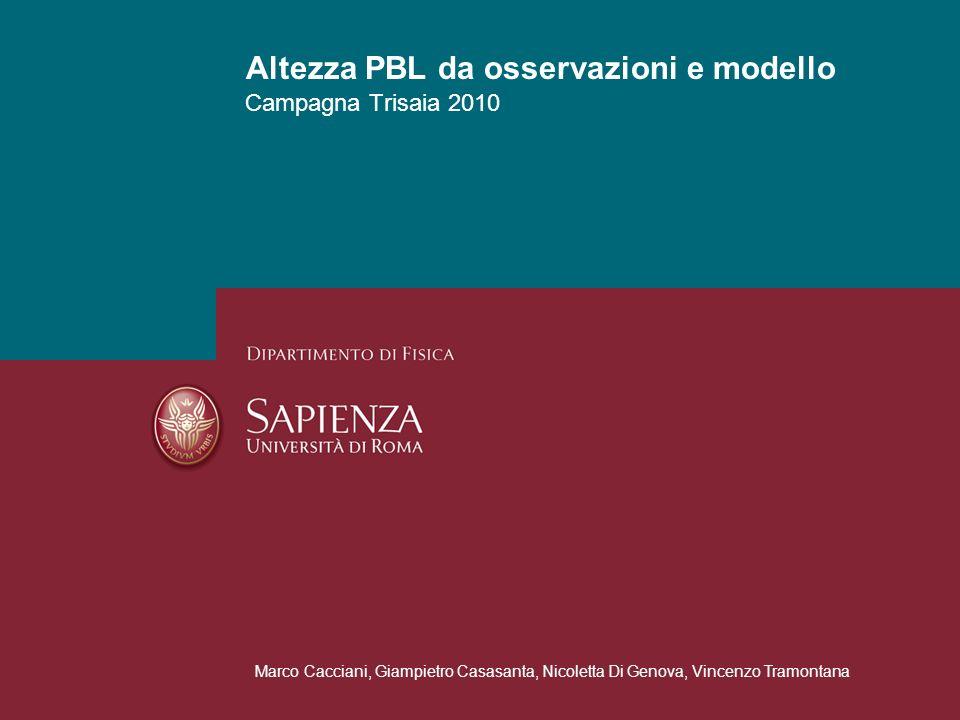 Campagna Trisaia 2010 Altezza PBL da osservazioni e modello Marco Cacciani, Giampietro Casasanta, Nicoletta Di Genova, Vincenzo Tramontana
