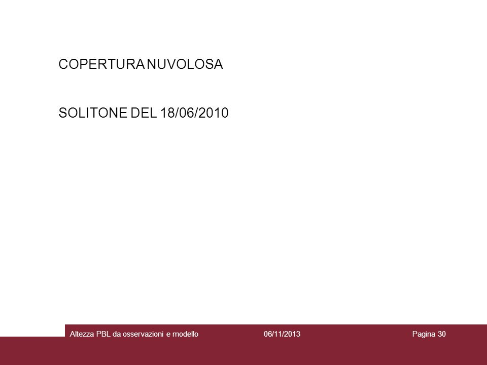 06/11/2013Altezza PBL da osservazioni e modelloPagina 30 COPERTURA NUVOLOSA SOLITONE DEL 18/06/2010