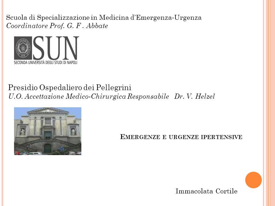 E MERGENZE E URGENZE IPERTENSIVE Scuola di Specializzazione in Medicina dEmergenza-Urgenza Coordinatore Prof. G. F. Abbate Presidio Ospedaliero dei Pe