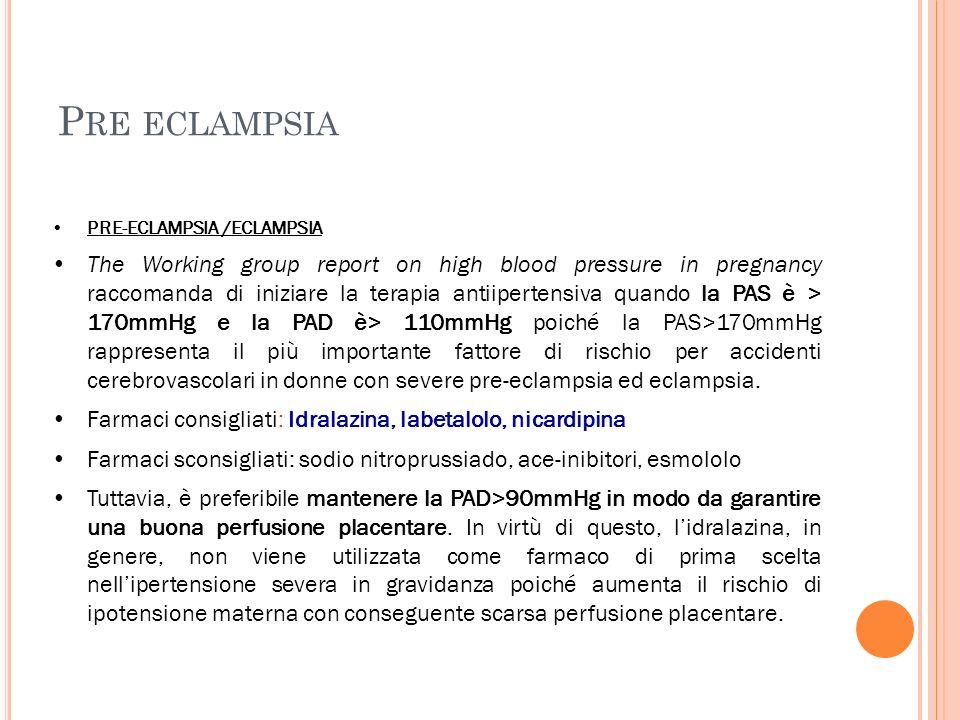 P RE ECLAMPSIA PRE-ECLAMPSIA /ECLAMPSIA The Working group report on high blood pressure in pregnancy raccomanda di iniziare la terapia antiipertensiva