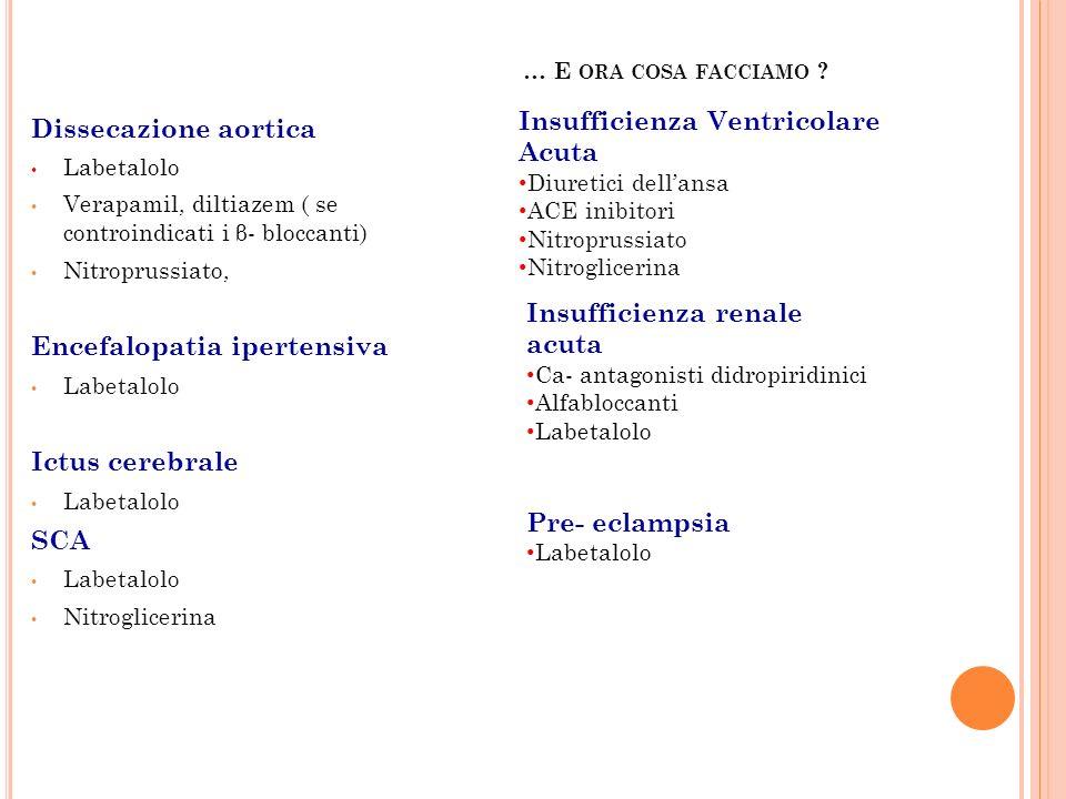 … E ORA COSA FACCIAMO ? Dissecazione aortica Labetalolo Verapamil, diltiazem ( se controindicati i β- bloccanti) Nitroprussiato, Encefalopatia iperten