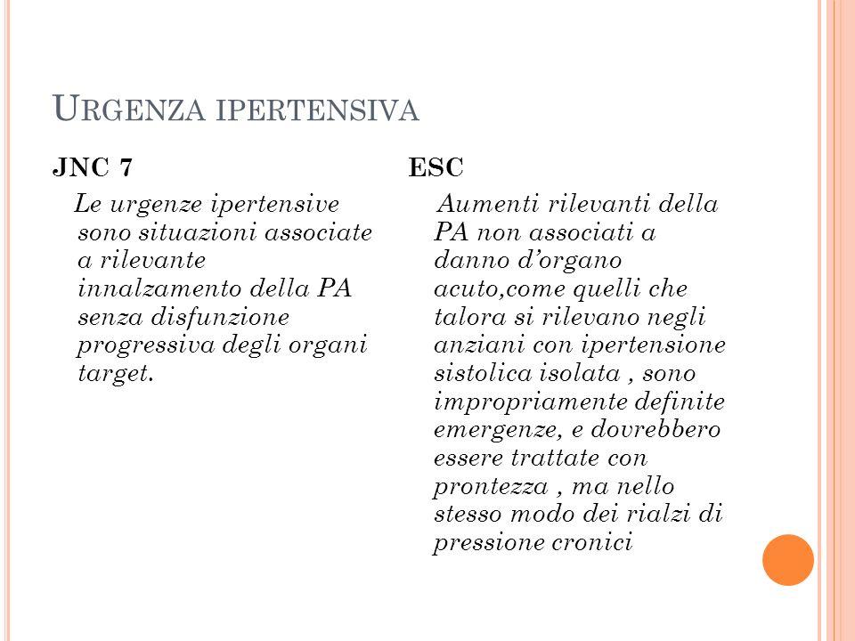U RGENZA IPERTENSIVA JNC 7 Le urgenze ipertensive sono situazioni associate a rilevante innalzamento della PA senza disfunzione progressiva degli orga