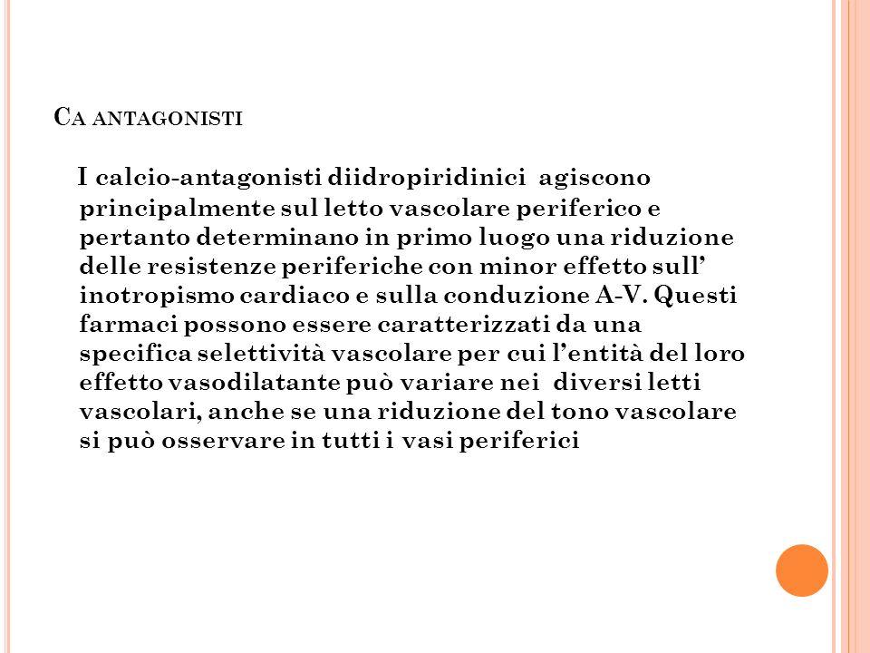C A ANTAGONISTI I calcio-antagonisti diidropiridinici agiscono principalmente sul letto vascolare periferico e pertanto determinano in primo luogo una