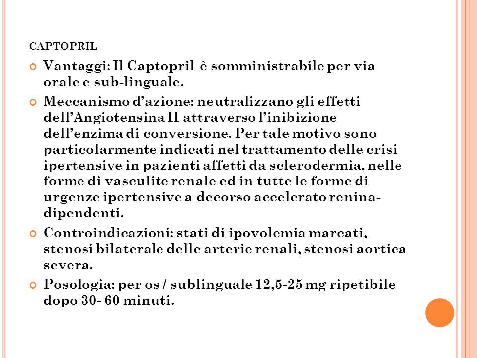 CAPTOPRIL Vantaggi: Il Captopril è somministrabile per via orale e sub-linguale. Meccanismo dazione: neutralizzano gli effetti dellAngiotensina II att