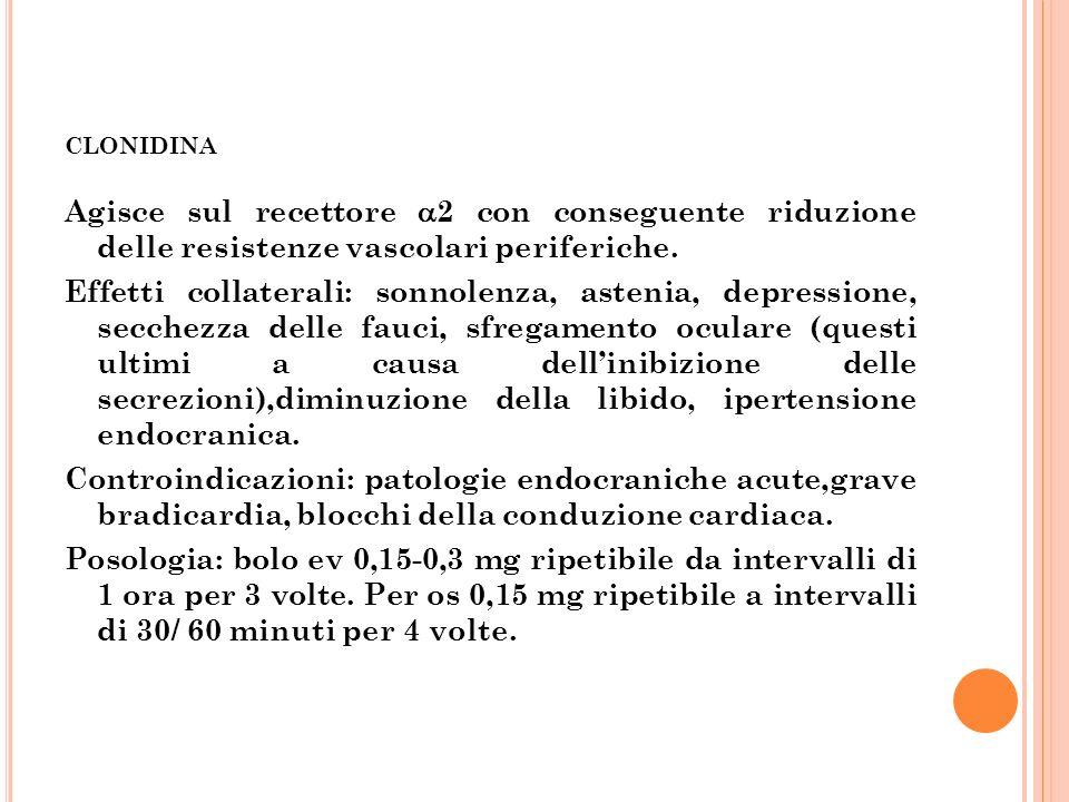 CLONIDINA Agisce sul recettore 2 con conseguente riduzione delle resistenze vascolari periferiche. Effetti collaterali: sonnolenza, astenia, depressio