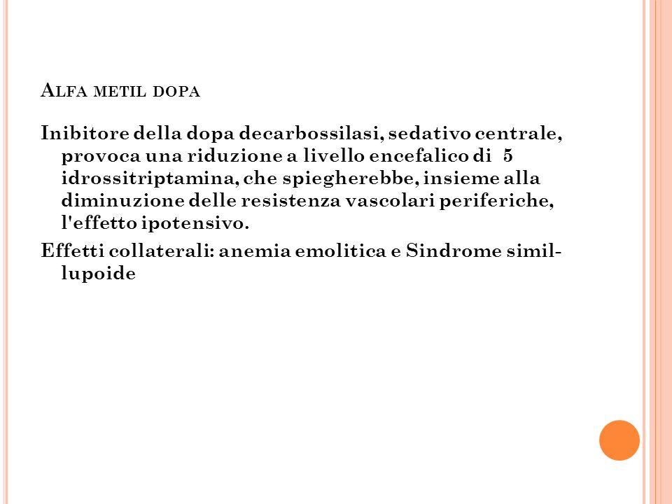 A LFA METIL DOPA Inibitore della dopa decarbossilasi, sedativo centrale, provoca una riduzione a livello encefalico di 5 idrossitriptamina, che spiegh