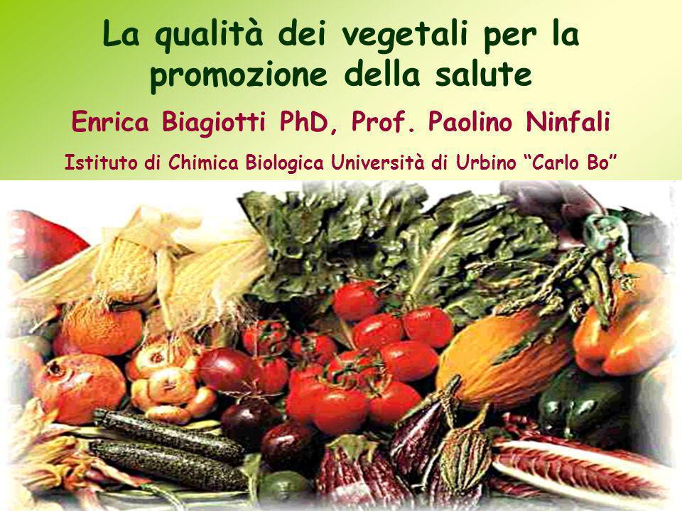 La qualità dei vegetali per la promozione della salute Enrica Biagiotti PhD, Prof. Paolino Ninfali Istituto di Chimica Biologica Università di Urbino