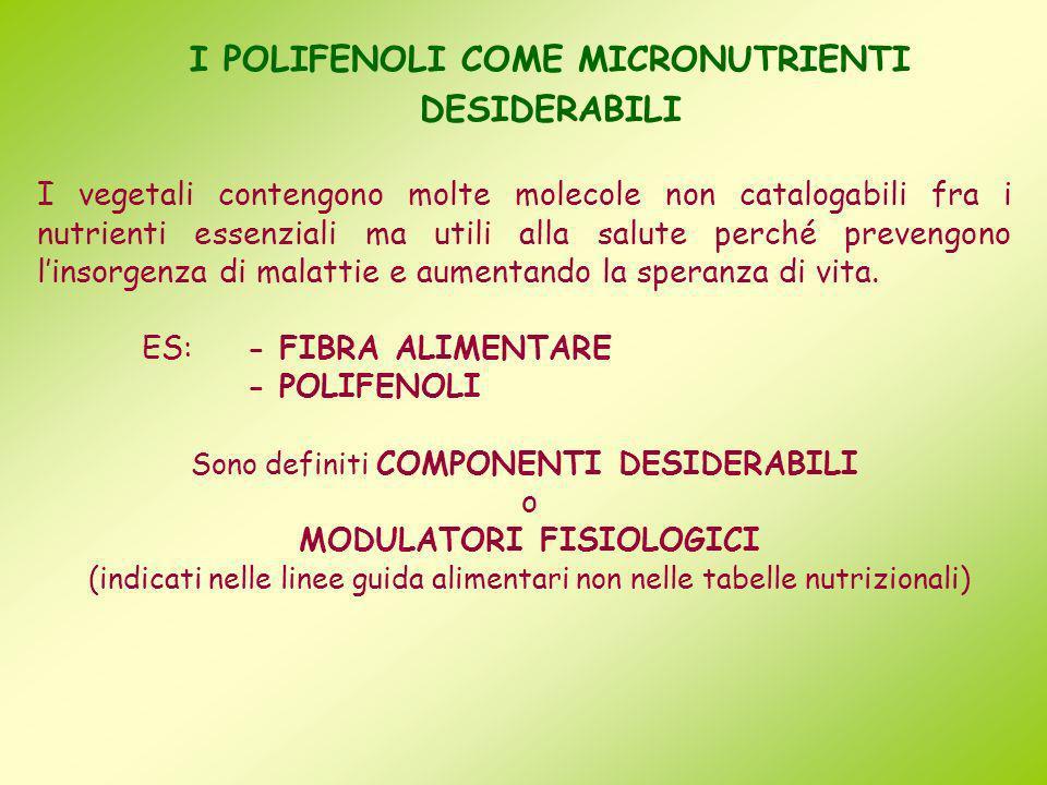 I POLIFENOLI COME MICRONUTRIENTI DESIDERABILI I vegetali contengono molte molecole non catalogabili fra i nutrienti essenziali ma utili alla salute pe