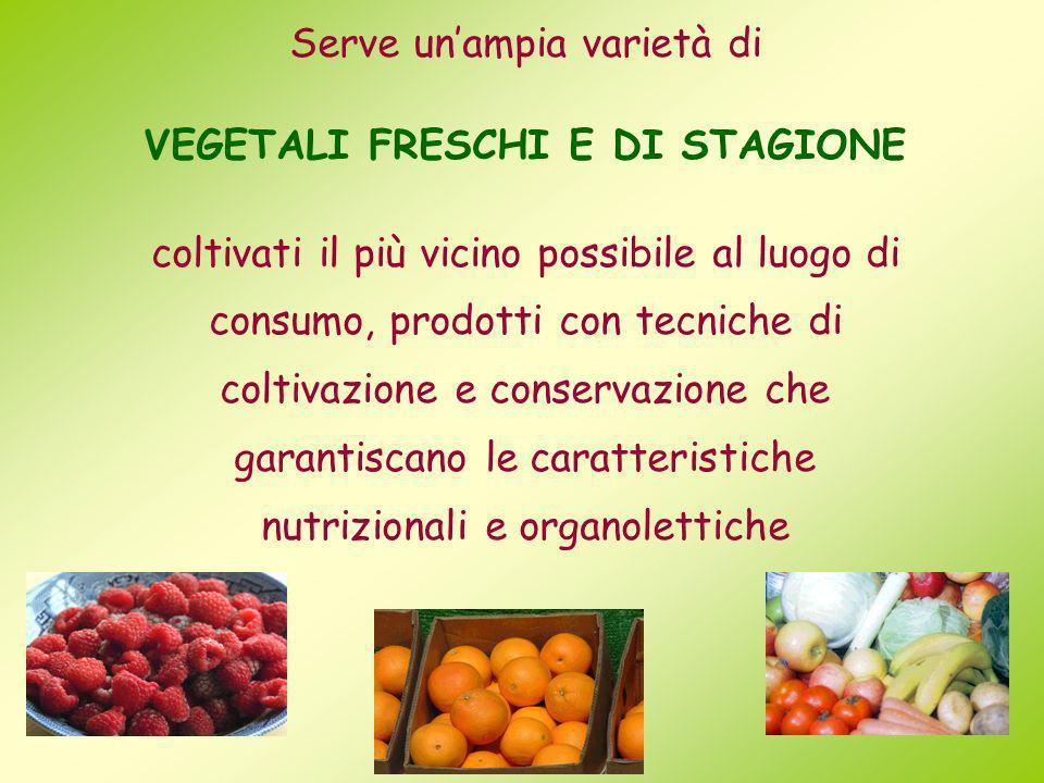 Serve unampia varietà di VEGETALI FRESCHI E DI STAGIONE coltivati il più vicino possibile al luogo di consumo, prodotti con tecniche di coltivazione e