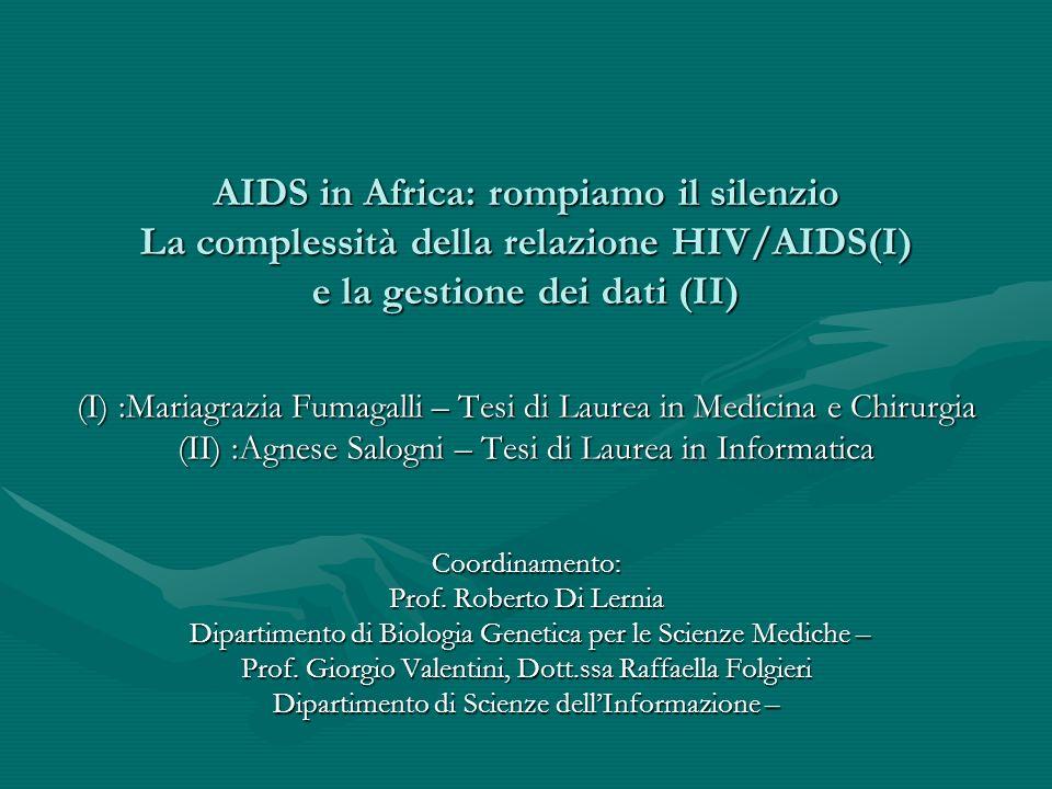 AIDS in Africa: rompiamo il silenzio La complessità della relazione HIV/AIDS(I) e la gestione dei dati (II) (I) :Mariagrazia Fumagalli – Tesi di Laure