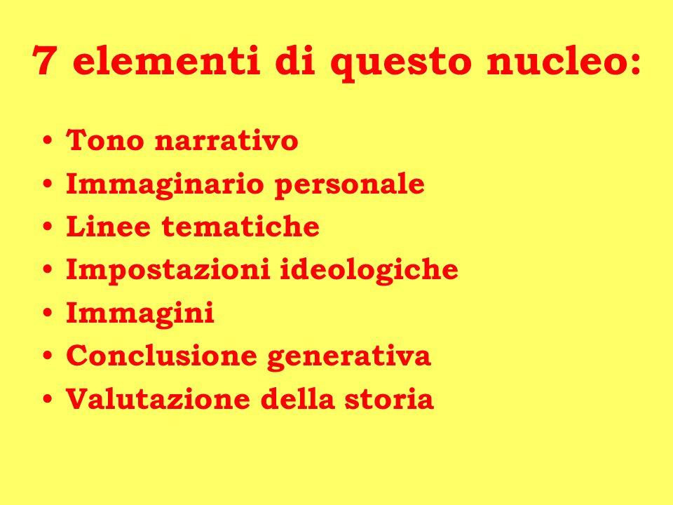 7 elementi di questo nucleo: Tono narrativo Immaginario personale Linee tematiche Impostazioni ideologiche Immagini Conclusione generativa Valutazione