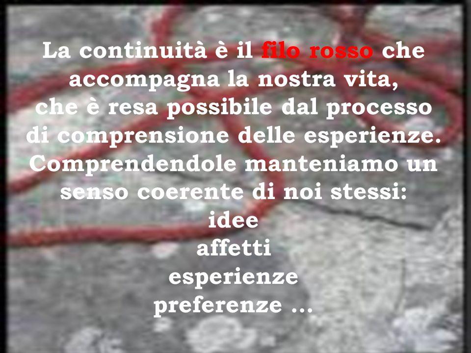 La continuità è il filo rosso che accompagna la nostra vita, che è resa possibile dal processo di comprensione delle esperienze. Comprendendole manten