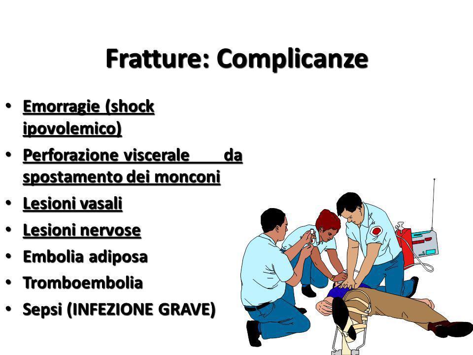 Fratture: Complicanze Emorragie (shock ipovolemico) Emorragie (shock ipovolemico) Perforazione viscerale da spostamento dei monconi Perforazione visce