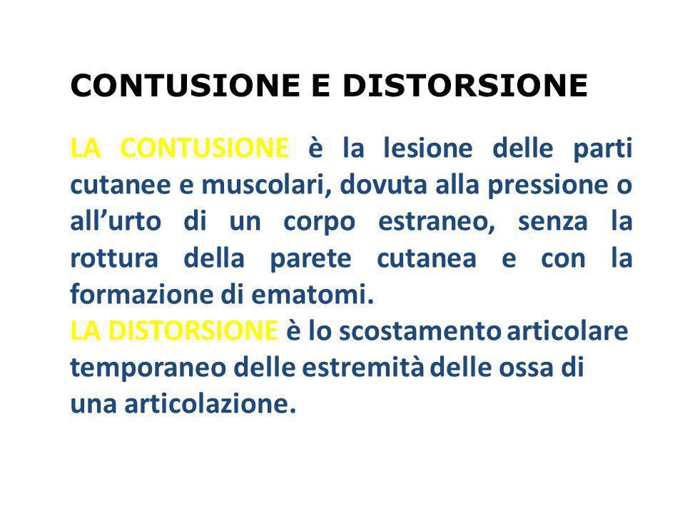 LA CONTUSIONE è la lesione delle parti cutanee e muscolari, dovuta alla pressione o allurto di un corpo estraneo, senza la rottura della parete cutane