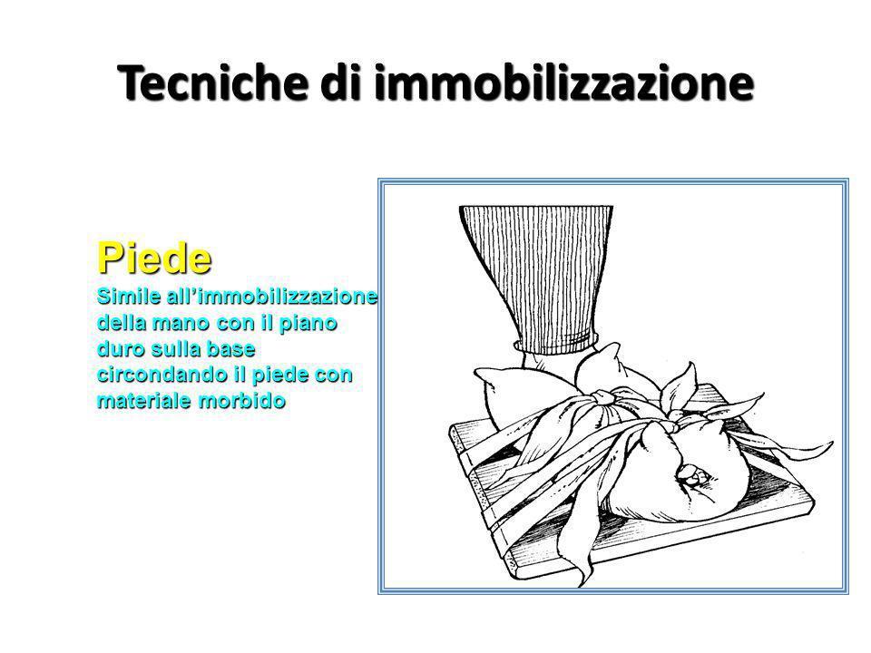 Tecniche di immobilizzazione Piede Simile allimmobilizzazione della mano con il piano duro sulla base circondando il piede con materiale morbido