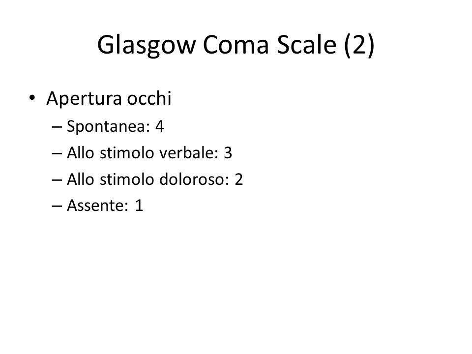 Glasgow Coma Scale (2) Apertura occhi – Spontanea: 4 – Allo stimolo verbale: 3 – Allo stimolo doloroso: 2 – Assente: 1
