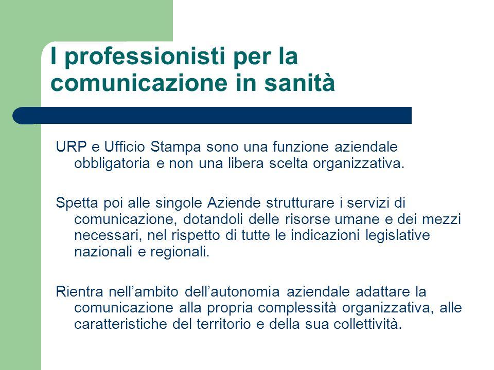 I professionisti per la comunicazione in sanità URP e Ufficio Stampa sono una funzione aziendale obbligatoria e non una libera scelta organizzativa. S