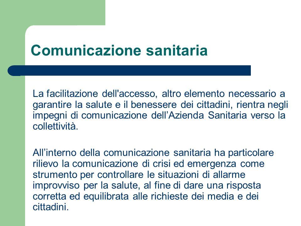 Comunicazione sanitaria La facilitazione dell'accesso, altro elemento necessario a garantire la salute e il benessere dei cittadini, rientra negli imp