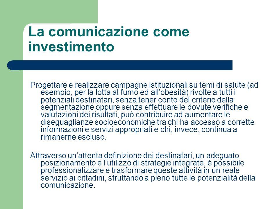 La comunicazione come investimento Progettare e realizzare campagne istituzionali su temi di salute (ad esempio, per la lotta al fumo ed allobesità) r