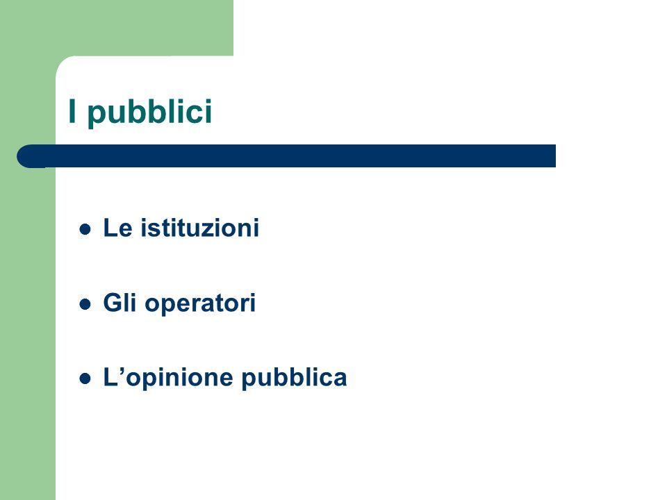 I pubblici Le istituzioni Gli operatori Lopinione pubblica