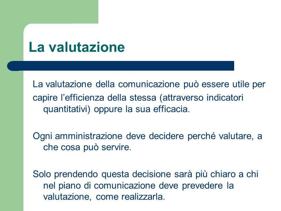 La valutazione La valutazione della comunicazione può essere utile per capire lefficienza della stessa (attraverso indicatori quantitativi) oppure la