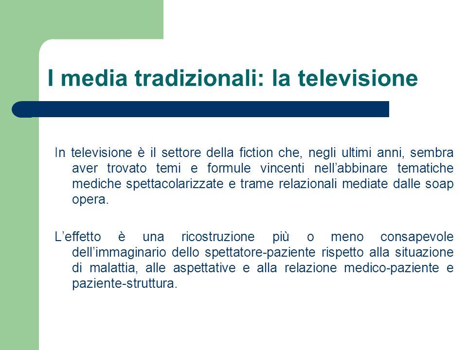 I media tradizionali: la televisione In televisione è il settore della fiction che, negli ultimi anni, sembra aver trovato temi e formule vincenti nel