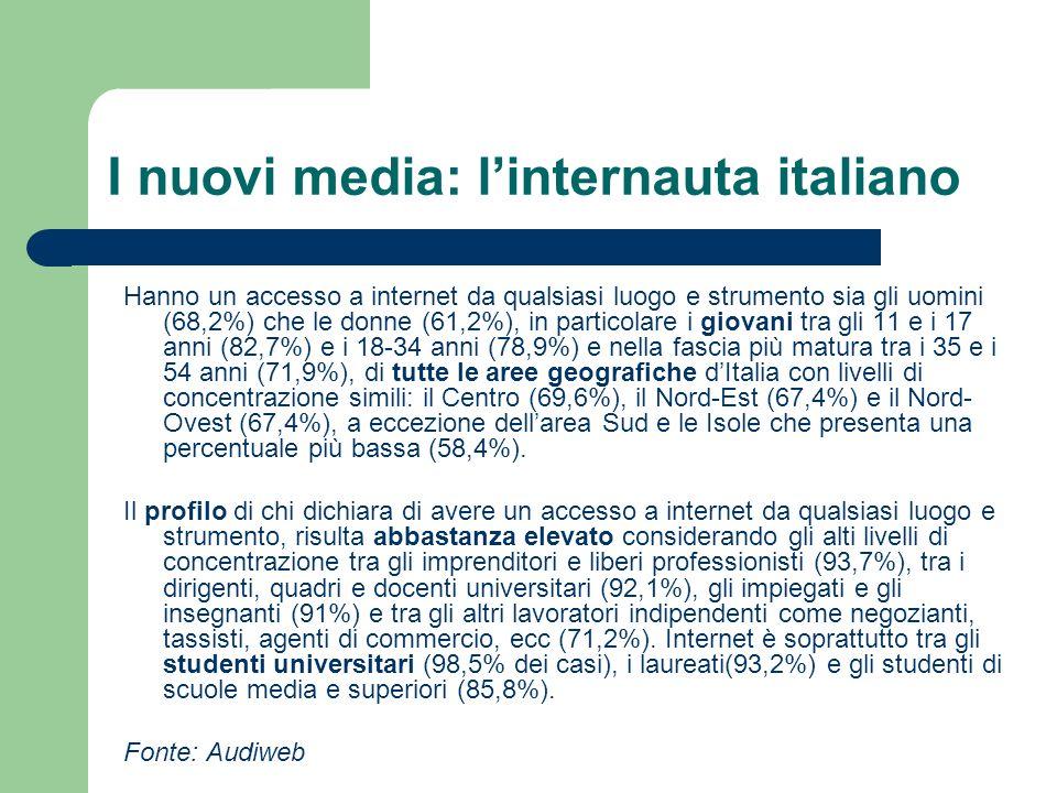 I nuovi media: linternauta italiano Hanno un accesso a internet da qualsiasi luogo e strumento sia gli uomini (68,2%) che le donne (61,2%), in partico