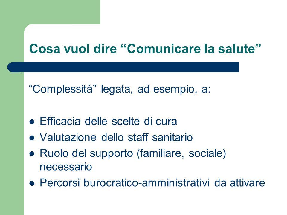 Cosa vuol dire Comunicare la salute Complessità legata, ad esempio, a: Efficacia delle scelte di cura Valutazione dello staff sanitario Ruolo del supp