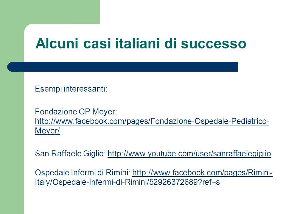 Esempi interessanti: Fondazione OP Meyer: http://www.facebook.com/pages/Fondazione-Ospedale-Pediatrico- Meyer/ http://www.facebook.com/pages/Fondazion