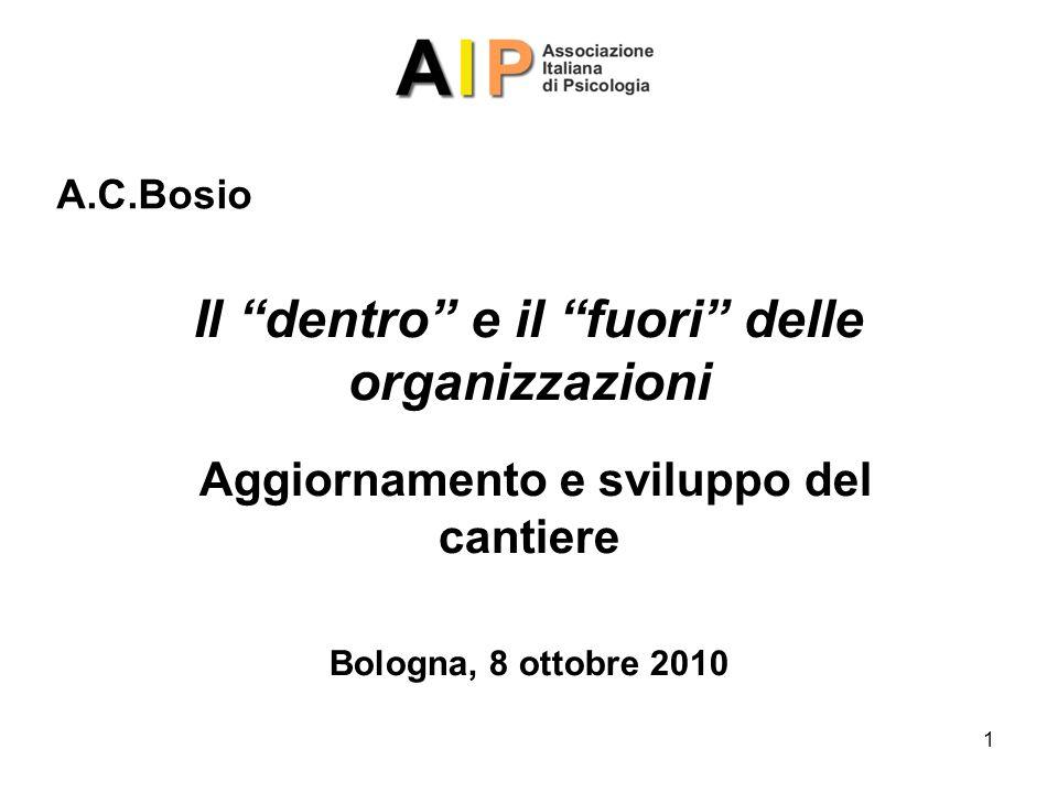 1 Il dentro e il fuori delle organizzazioni Aggiornamento e sviluppo del cantiere Bologna, 8 ottobre 2010 A.C.Bosio